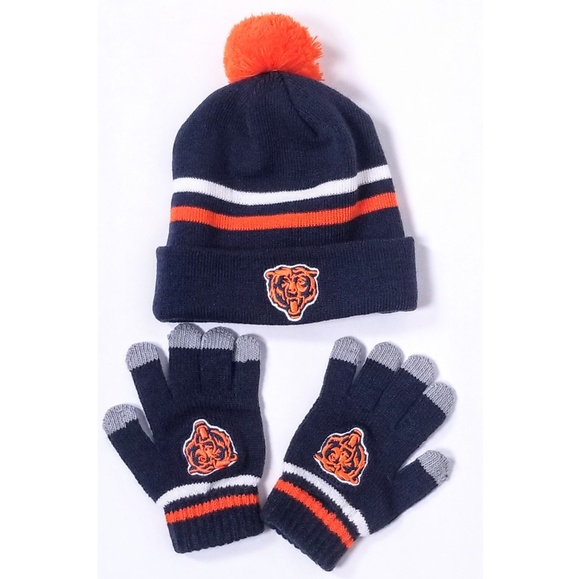Kids Chicago Bears NFL Knit Hat and Screen Gloves ec5da29b6174